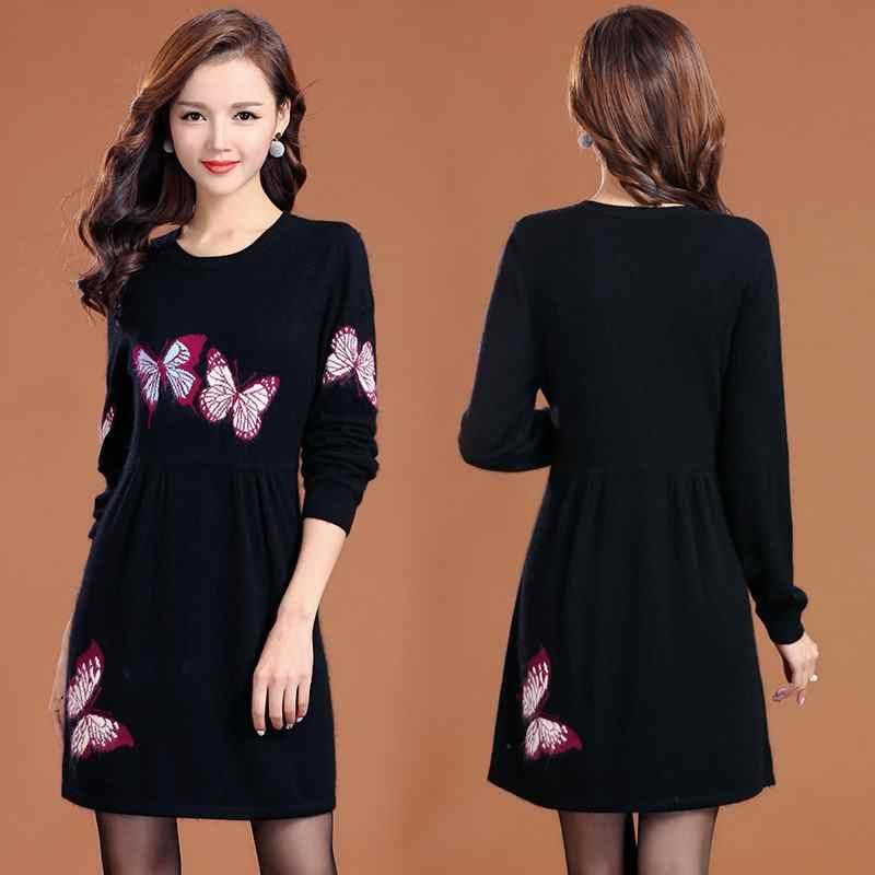 2019 элегантное осенне-зимнее женское трикотажное платье-свитер с вышивкой бабочки, длинное плотное шерстяное женское платье-свитер, тонкий трикотажный пуловер, платье K171
