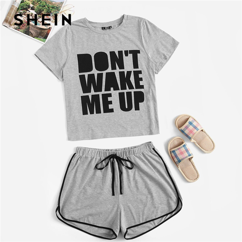 SHEIN Plus Size Grey Slogan Print Tee And Dolphin Hem Shorts   Pajama     Sets   2019 Women Summer Sleepwear Casual Plus PJ   Set