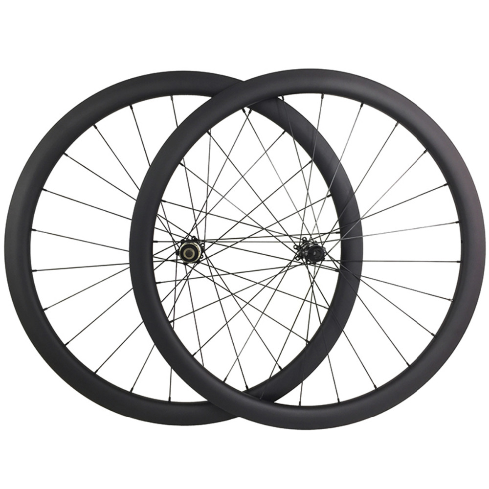 super light 1340g 700c 42mm asymmetric road disc bicycle carbon wheels clincher 25mm wide UD 3K