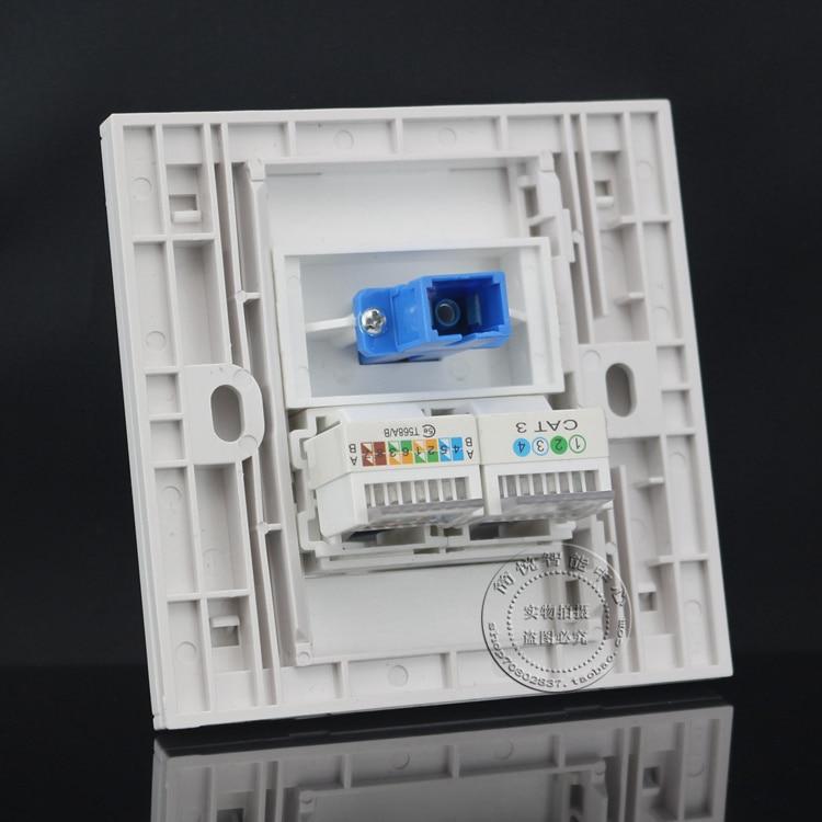 Wall Socket Plate SC Opitcal Fiber + RJ45 Cat5 Lan Network +RJ11 Cat3 Panel Faceplate Outlet