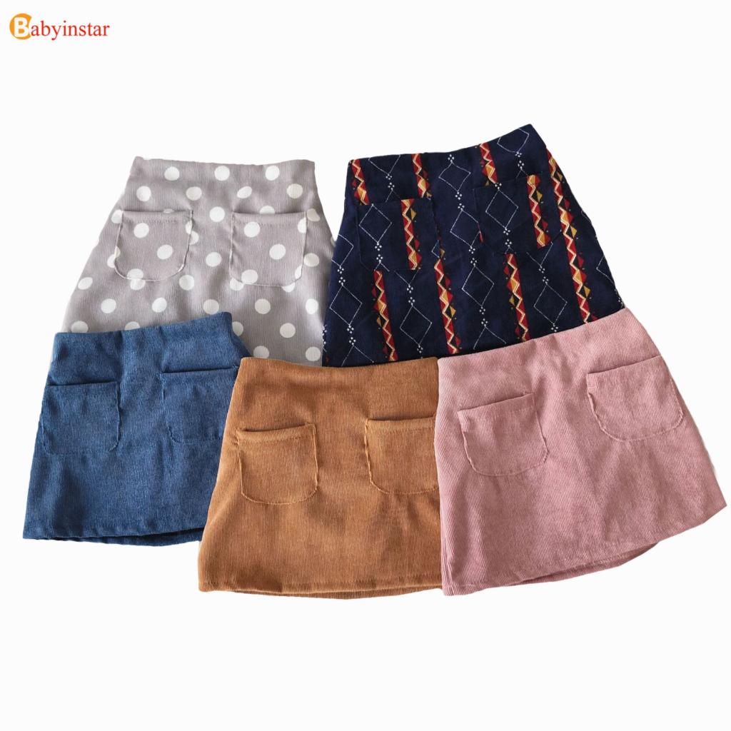 цены на Babyinstar Girls Skirts 2018 New Arrival Brand Children's Clothing Autumn Winter Solid Skirt Outwear Button A-Line Girl Skirt