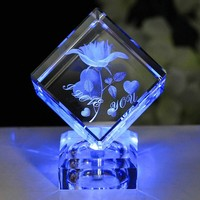 3D Laser K9 Crystal Rose Engraving Cube LED Base For Valentine S Day Birthday Wedding Anniversary