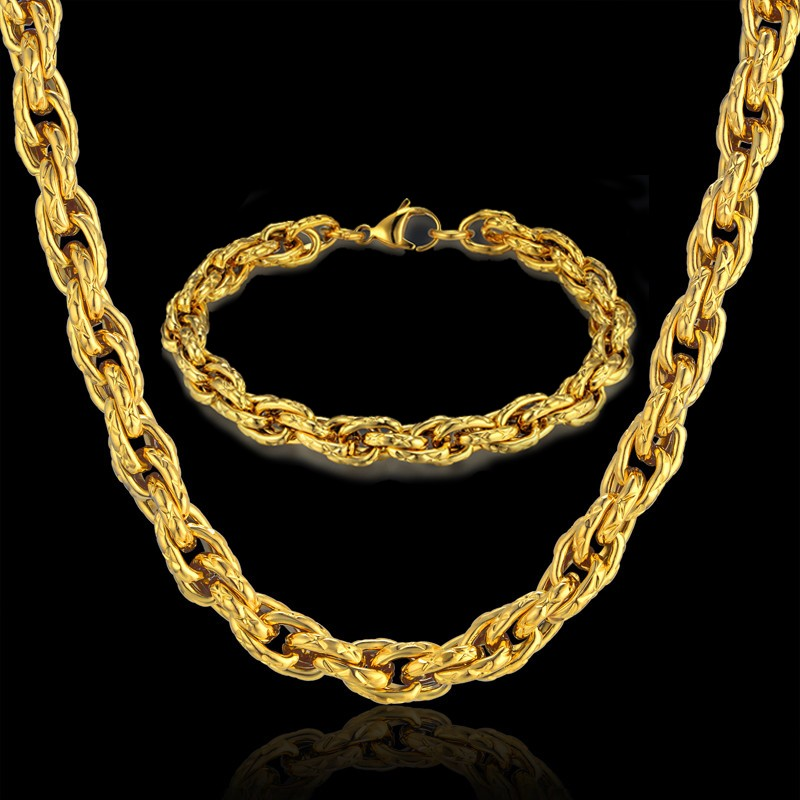 Hip Hop Indian Gold Jewelry Sets & More Stainless Steel Gold Color Rope Chain Set For Men Jewelry
