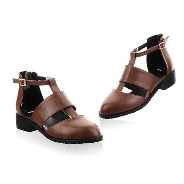 fe7249b580 Zapatos Vintage Mujer ahuecado Mujeres Dedo Del Pie Redondo Sandalias  Romanas de Las Mujeres Sandalia de