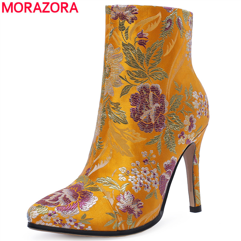 MORAZORA SIZE 34-43 New 2019 autumn winter ankle boots for women ladies pointed toe high heels fashion boots Embroider lady shoeMORAZORA SIZE 34-43 New 2019 autumn winter ankle boots for women ladies pointed toe high heels fashion boots Embroider lady shoe