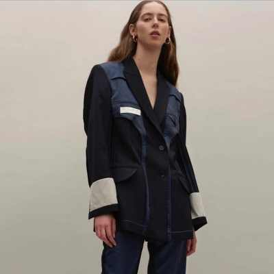 女性ブレザーパッチワークデザイン高品質女性ブレザージャケット 2019 春スーツコート女性ストリートトップスーツフェミニンオーバーコート