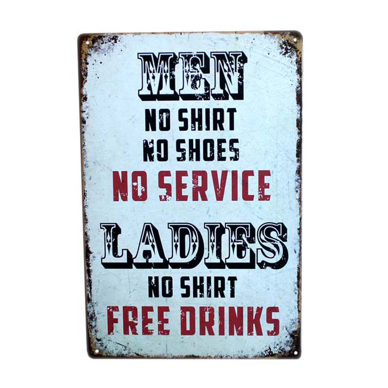 Ladies No Shirt Gratis Drinkar 30x20cm Vintage Metal Tennskylt Roligt Konst Tennplatta Man Cave Bar Cafe Väggdekoration Platta A952