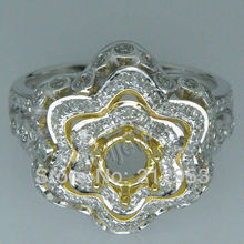 Fine Jewelry Vintage Round 4.5mm 18Kt Two Tone Gold  Setting Ring SR0008A