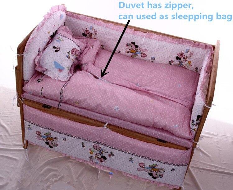 Фото Promotion! 6PCS Cartoon baby cribs for Cartoon print bedding sets,baby care bed (3bumpers+matress+pillow+duvet). Купить в РФ