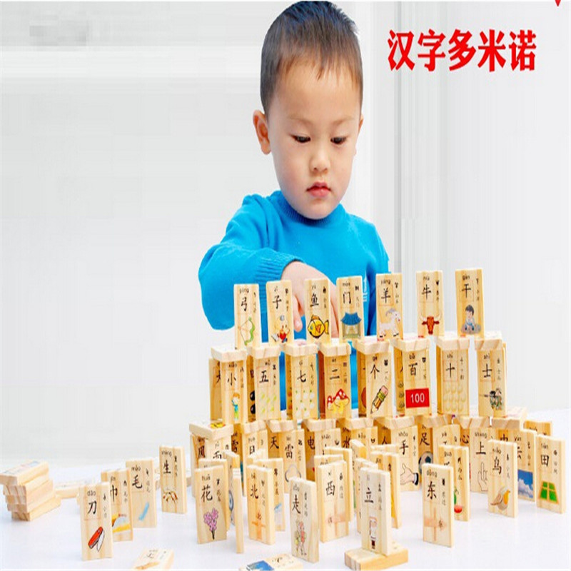 ФОТО 100pcs Wooden Domino Chinese characters early childhood learning toys children's blocks toys
