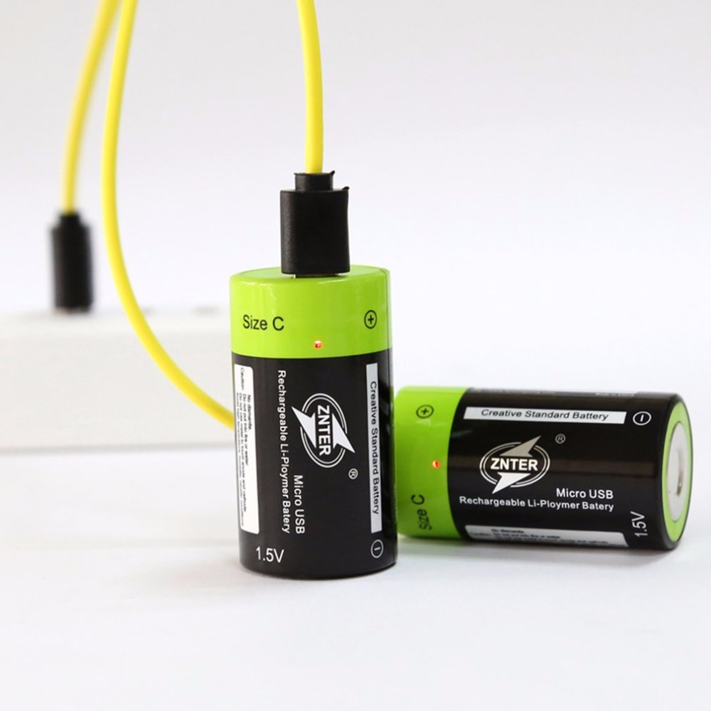 ZNTER 2pcs/lot Size C 1.5V 3000mAh Rechargeable Lithium Polymer Battery C type Battery Charged by Micro USB Cable