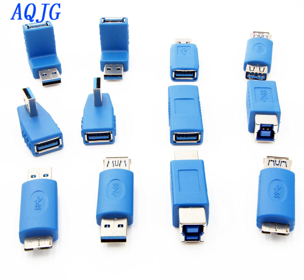 USB 3.0 Adapter Couplers Toolkit Type A to B or Micro or Mini And Male to Female Adapters USB male to Female Right Degree AQJG mini black usb type a female to usb type b male converter connector adapter