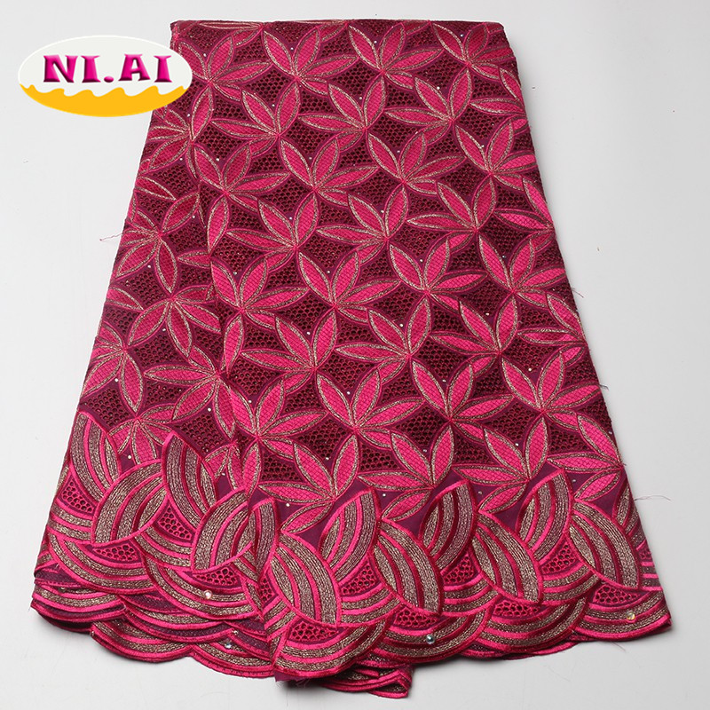 Fushia Pink African Lace Aso Oke Nigeria Stone Swiss Lace African Swiss Voile Lace High Quality