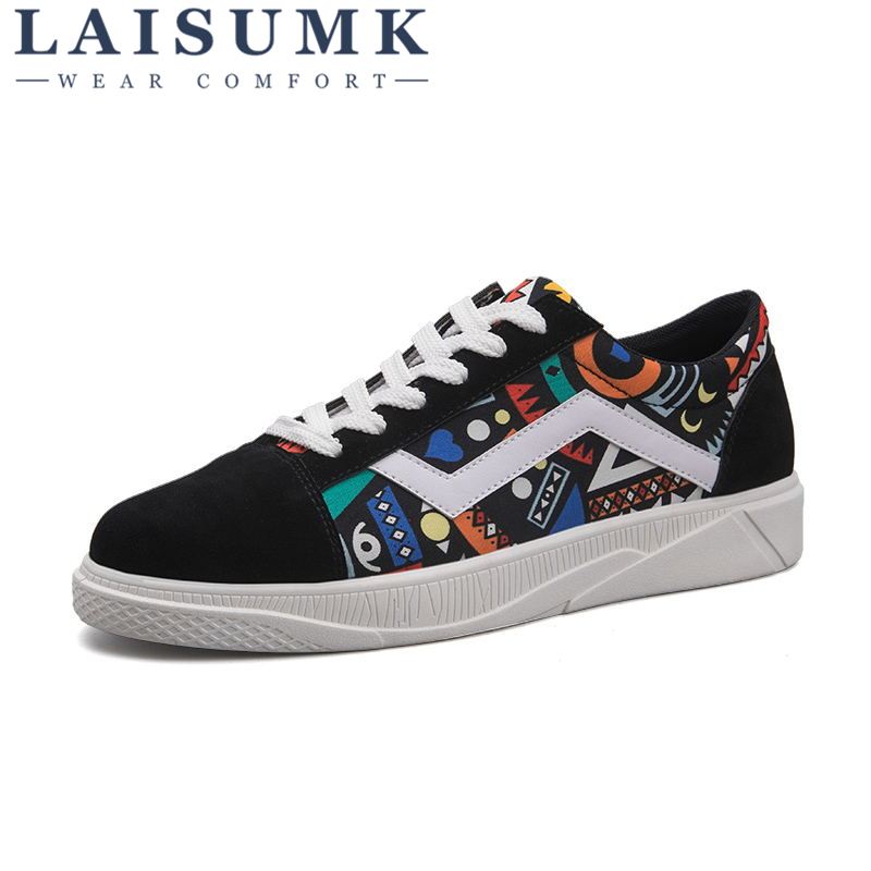 2019 LAISUMK New Style Men Fashion Casual Shoes Canvas Male Footwear Comfortable Flat Shoes Lace Up Vulcanized Shoes Men Loafers in Men 39 s Casual Shoes from Shoes