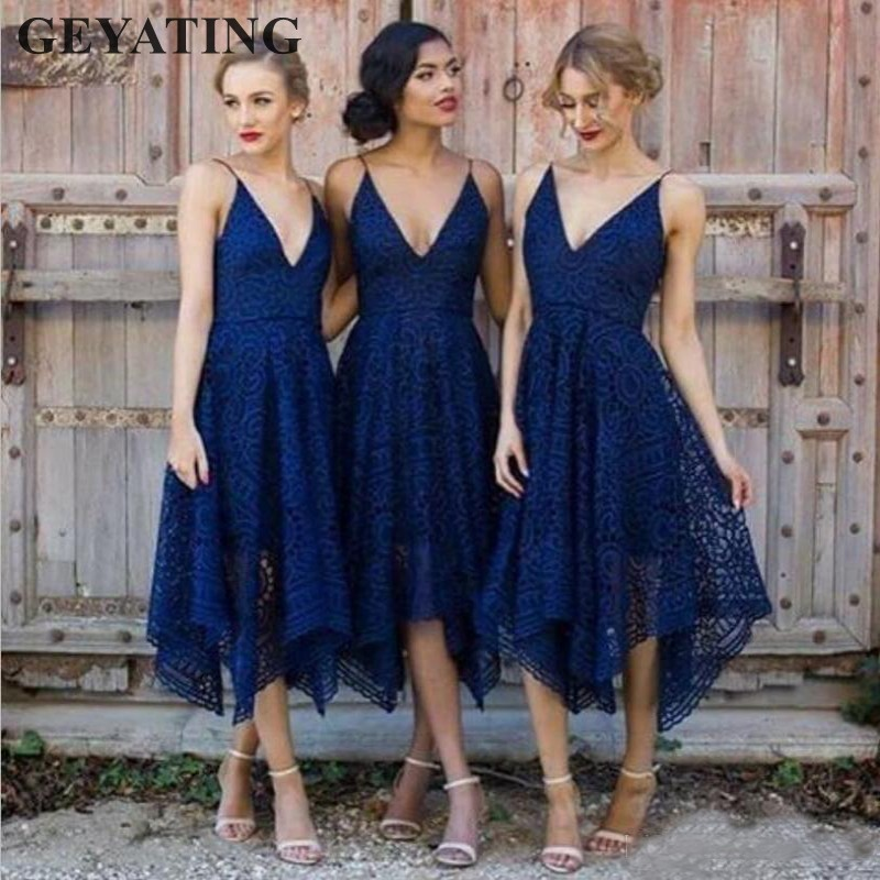 Navy Blue Lace Short Bridesmaid Dresses with Straps V neck Irregular Hem Tea Length Blush Pink Country Wedding Party Guest Dress