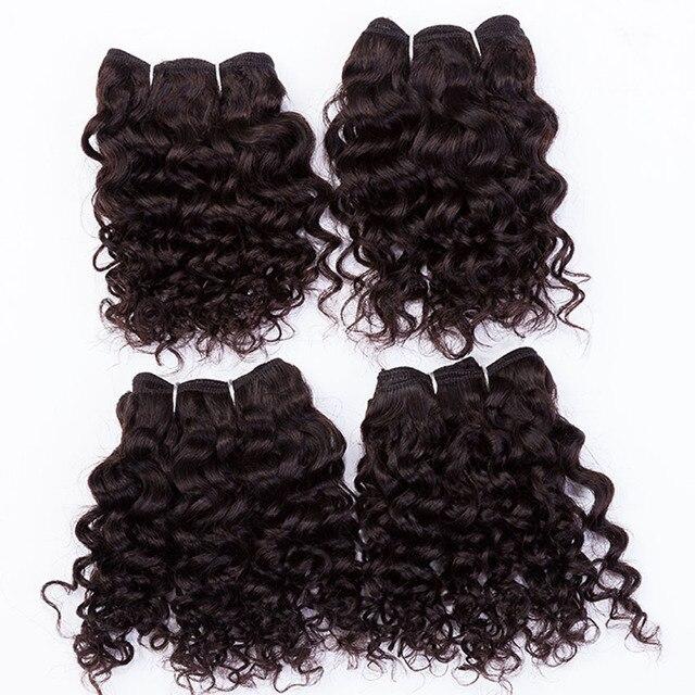"""EVET 7A Não Transformados Virgem cabelo Kinky Curly cabelo Humano Brasileiro Tece Conjunto Não Cabeça Cheia Extensões de Cabelo 4 pcs 4x8 """"120 g/set"""