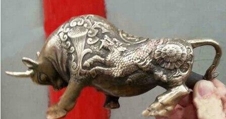 Art Bronze décoration artisanat laiton cuivre décoré vieux travail manuel ox richesse argent taureau chanceux Bronze dragon statue