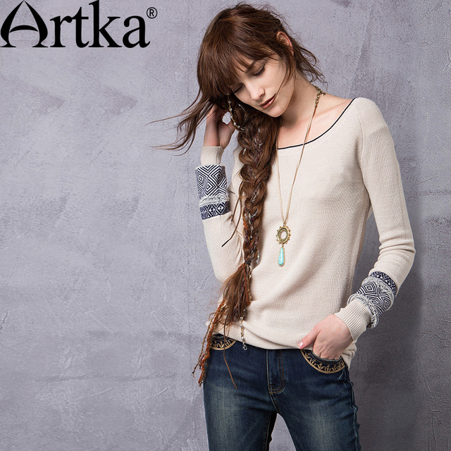 Artka Women's Spring New 4 Colors Patchwork Jarquard Sweater Fashion O-Neck Long Sleeve All-match Knitwear YB12363Q
