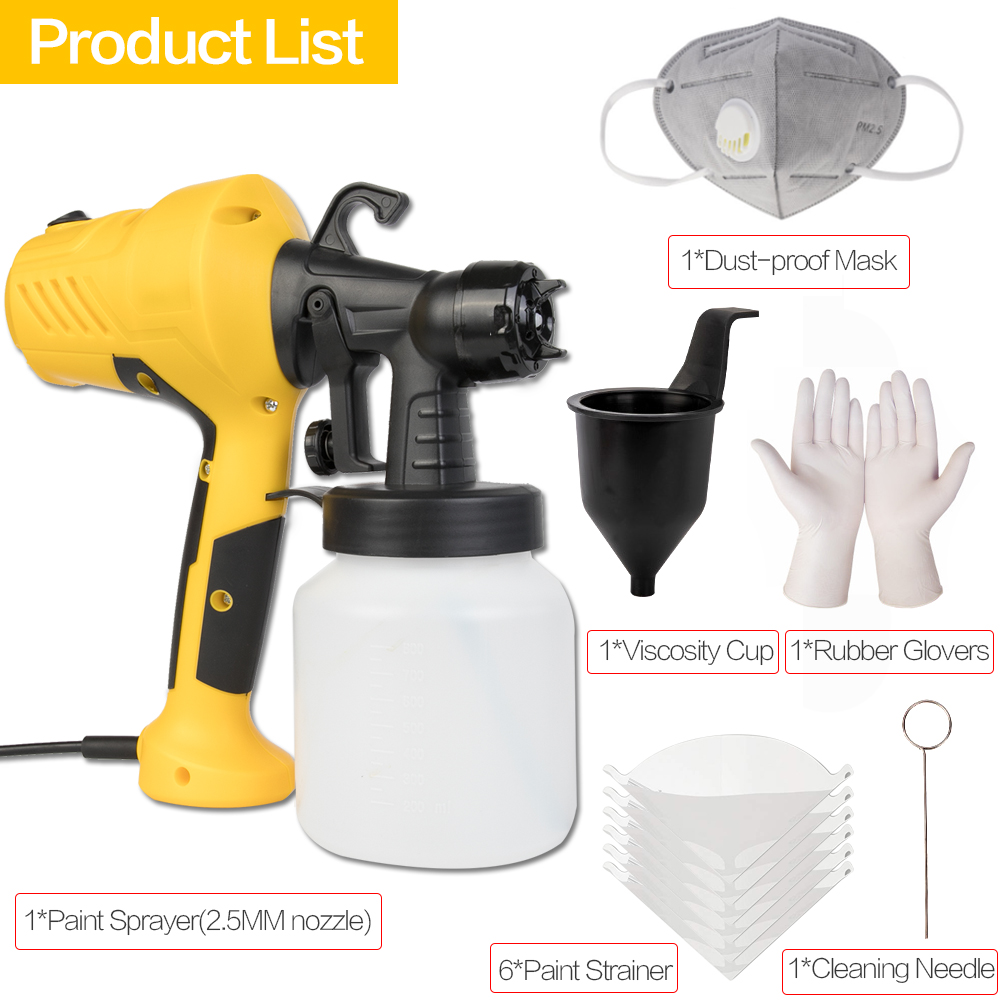 Image 5 - 800ML 2.5MM Nozzle Handheld Spray Gun Paint Sprayers Power Paint Gun For Clean Up Spray Pesticide Flow Control Electric Airbrush-in Spray Guns from Tools on