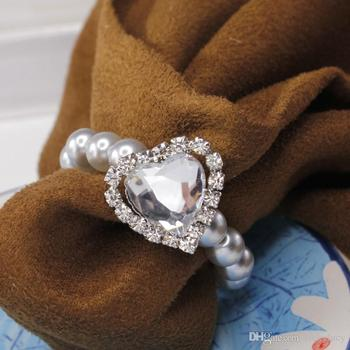 White Heart Shape LOVE Big Rhinestone Shiny Pearls Crystal Napkin Rings For Wedding Party Table Decoration Supplies