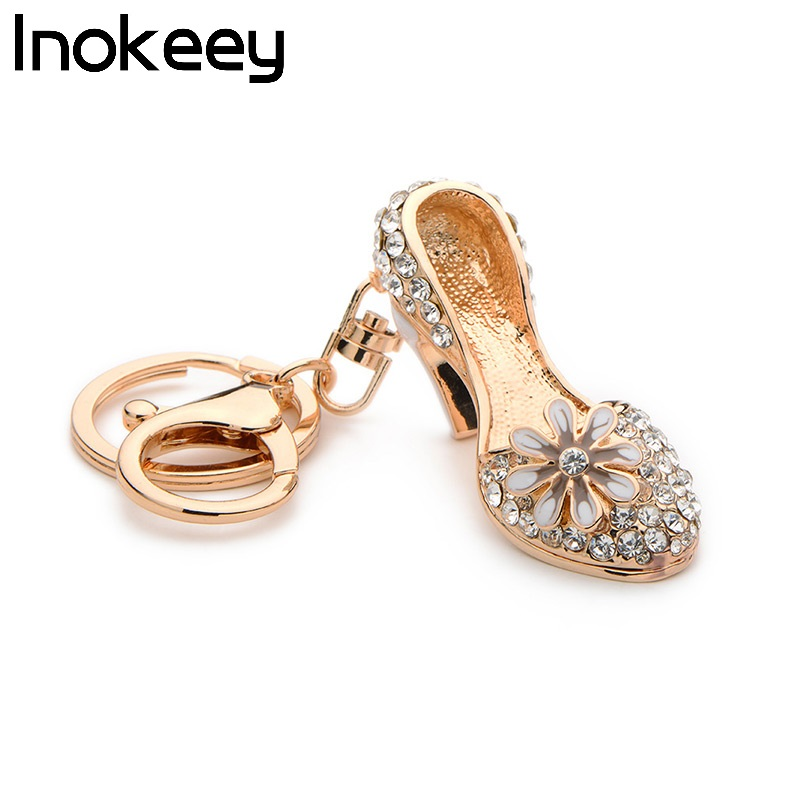 Inokeey Alloy White Rhinestone High Heel Shoes Key Chain