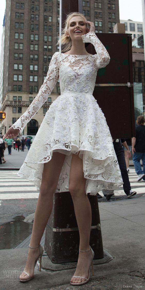White Long Sleeve Vintage Wedding Dress Boat Neck Short