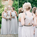 Unique Light Gray Bridesmaid Dresses Beaded Pleat Chiffon Bridesmaid Dress Beautiful Open Back Bridesmaids Gowns For Party B98