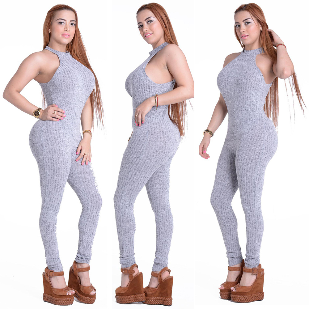 9f235f7446f7 Echoine Halter Neck Rompers Off Shoulder Women Jumpsuits Fashion Summer  Sleveless Bodycon Jumpsuit Sexy Grey Playsuits -in Jumpsuits from Women s  Clothing ...