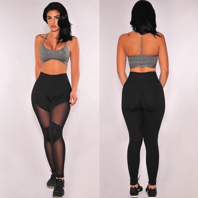 2016 Woman Fitness Leggings Black New Mesh Splice Slim Trouser Workout Pants Casual Elastic Wicking Fitness Leggings For Women
