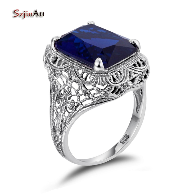 Szjinao Sept Birthstone Solid 925 Sterling Silver Flower Ring Vintage Handmade Sapphire Rings for Women Promise RingsSzjinao Sept Birthstone Solid 925 Sterling Silver Flower Ring Vintage Handmade Sapphire Rings for Women Promise Rings
