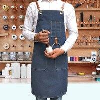 Lange Leinwand Schürze Lederband Barber Floristen Gärtner Maler Arbeit Tragen BBQ Koch Barista Baker Bartender Waitstaff Uniform K45-in Schürzen aus Heim und Garten bei