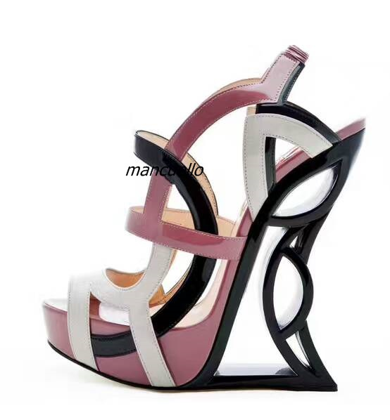 New Arrival Color Matched PU Leather Strange Heel Sandals Women Stylish Cut-out Hook Loop Dress Sandals Unique Hollow Heel Shoes pair of stylish hollow out lace splicing pu leg warmers for women