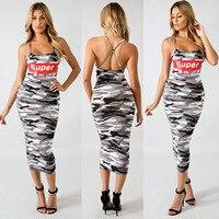 2019 Summer Sexy O Neck Dresses Women Camouflage English Offset Spaghetti Strap Dress Vestidos Plus Size