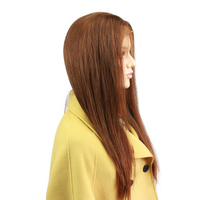 Eseewigs Silky Straight Brown Full Lace Wigs Human Hair Brazilian Remy Human Hair Glueless Lace Wigs Baby Hair Bleached Knots