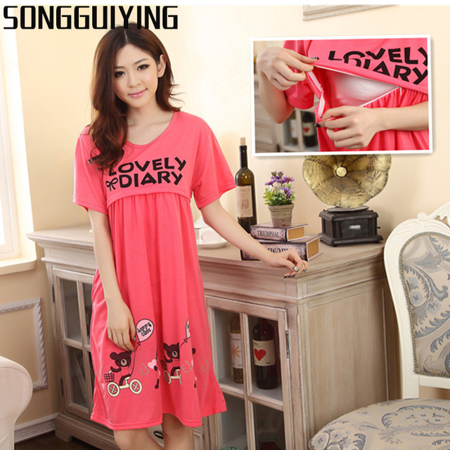 f023fa3c836 SONGGUIYING A41 Summer Pregnant Women Breastfeeding Clothing Cute Bear  Lactation Nursing Clothes Maternity Pregnancy Dress