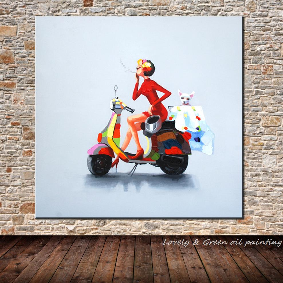 Ручная роспись холст настенное искусство абстрактная картина маслом украшение дома Современное оформление стены картина мода женский мотоцикл