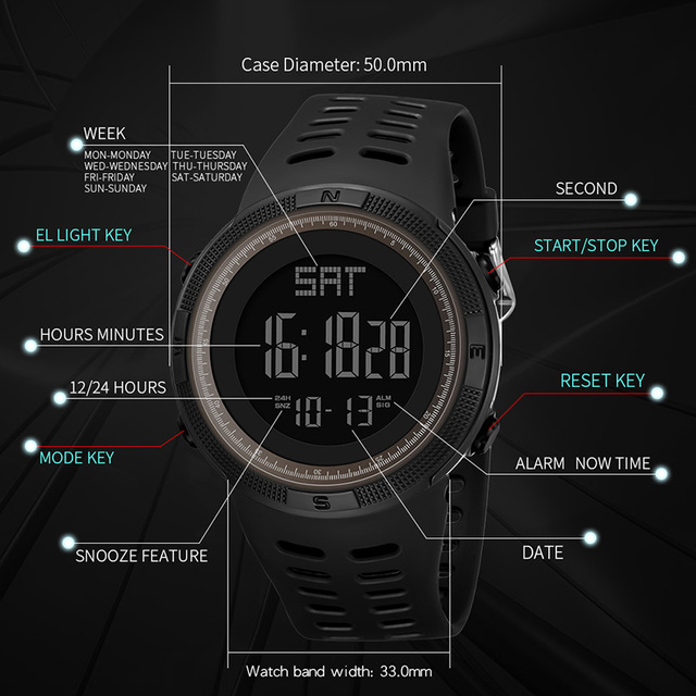 Digital Watch Men Sports Electronic Watch Military PANARS Waterproof LED Fitness G Watch Outdoor S Shock For Running Chronograph