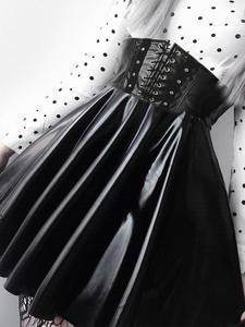 SUCHCUTE Women's Skirts Bandage Faux-Leather Harajuku Party Black Mini Korean Fashion