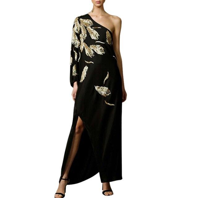 d12fb8ebee0b Paillettes oro foglie di lusso del vestito delle donne slash neck una  spalla singolo fessura del lato lungo sexy del vestito delle donne del  partito lungo ...