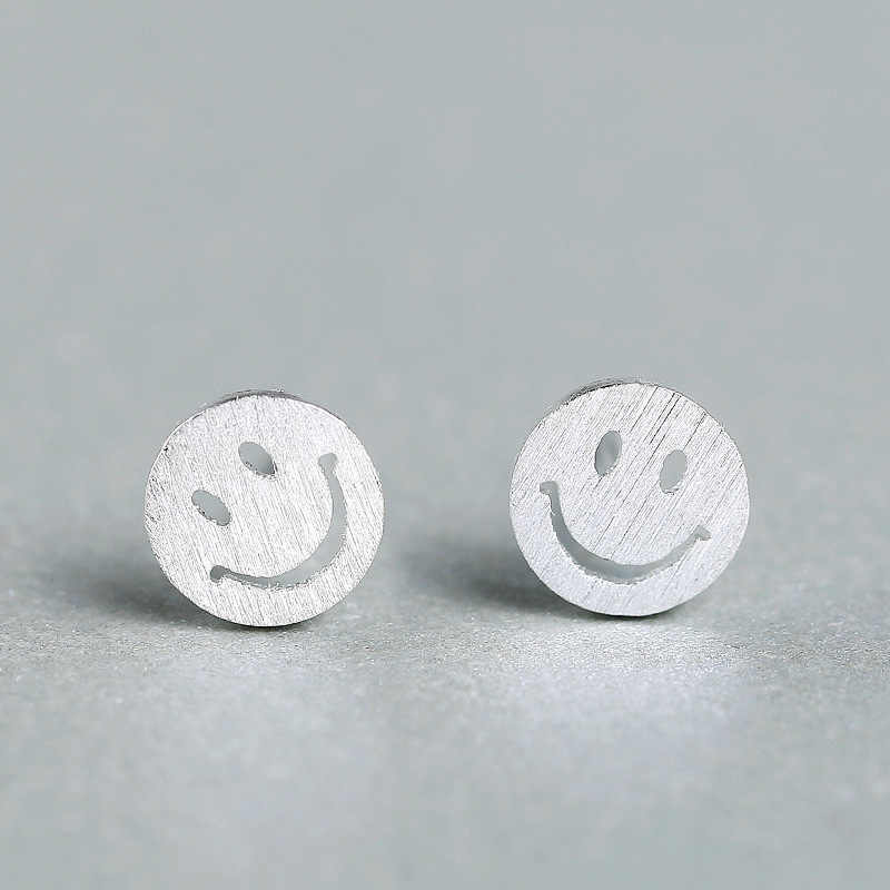 925 Sterling Silver Earring Hypoallergenic Hollow Smile Stud Earrings For Women Girls Party Gift Pendientes Brincos EH651
