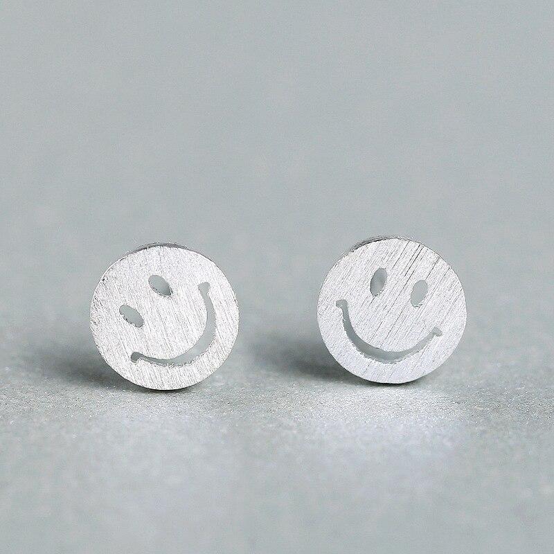 Серьги-гвоздики женские гипоаллергенные с полыми улыбками