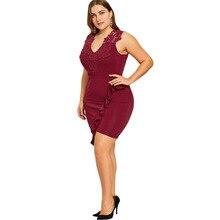 Plus Size 5XL Sleeveless Flounced Bodycon Dress Women Sexy Club V Neck Oversized Bodycon Female Dress Big Size