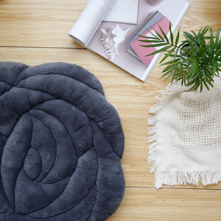 Роза круглый Push Home ковры Офисный Компьютерный стул Pad осень и зима татами подушки мягкие коврики кофе стол пол коврики - Цвет: deep gray