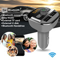 2016 Chegada Nova Car Kit MP3 Transmissor FM Leitor De Áudio Bluetooth Apoio TF Cartão Do Bluetooth LCD Dual USB