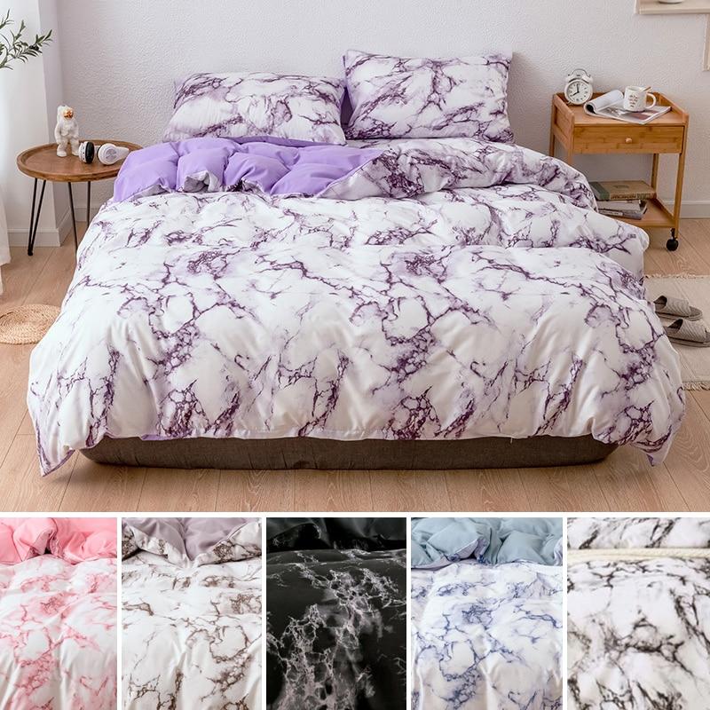 Marble Pattern Bedding Sets Duvet Cover Set 2 3pcs Single Queen