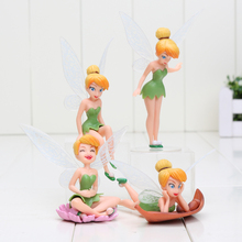 4pcs/set Tinker Bell Fairies Resin Action Figures Tinkerbell Fairy Anime Figurines cute toy Kids Toys 4-11cm