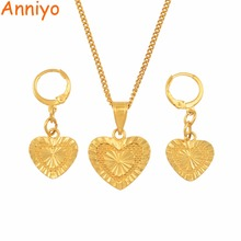 Anniyo Heart Jewelry sets Pendant Necklaces Earrings for Women Girls Gold Color Romantic Bride Wedding Party Gift #144106 gold color stainless steel jewelry sets romantic wedding earrings necklaces for women crystal and opal jewelry