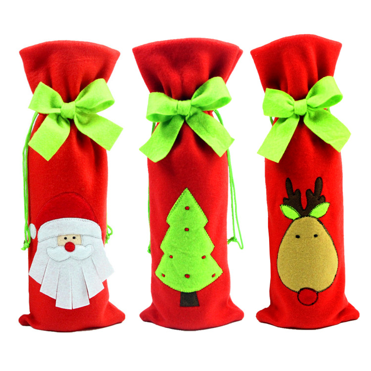 1pc Creative Red Santa Claus Snowman Christmas Tree Gift Bags Red Wine Bottle Cover Dining Table Party XMAS Gift Supplies