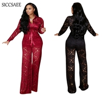 2019 Spring Lace Crochet Two Piece Set Sheer See Through Wide Leg Palazzo Pants Suits Sexy Casual Outfits For Women Matching Set