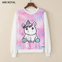 ARK ROYAL 2017 Autumn Winter Harajuku Printed Hooded Sweatshirt Printing Cartoon Unicorn Owl Cat Hoodies Girls
